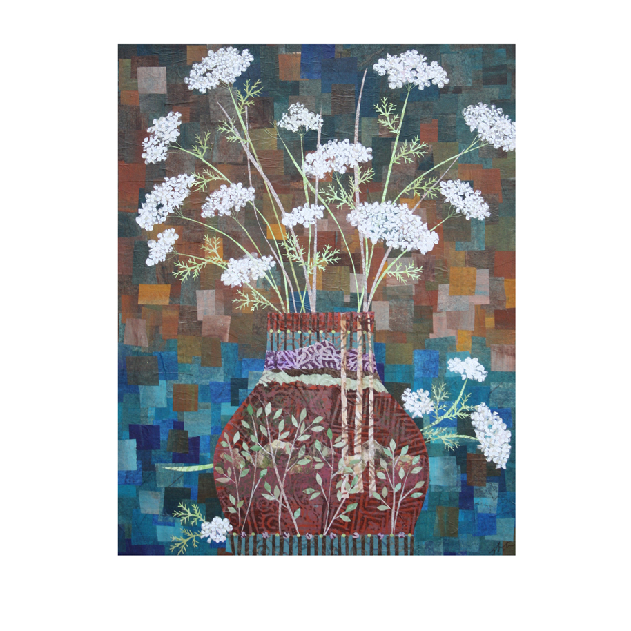 """Queen Anne's Lace in Vase with Birches. (2016). Layered paper collage. Hand-stamped and altered paper on 16"""" x 20"""" canvas. $575, plus tax and shipping."""