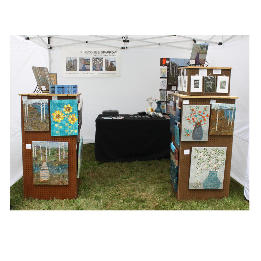 Pinecone and Sparrow Booth Display. 2018 South Portland Art in the Park.
