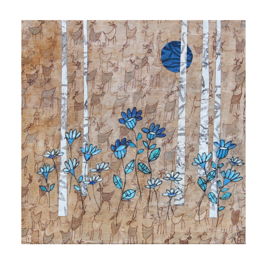"Birches and Blue Flowers Collage. (2018). Layered paper collage. Hand-stamped, drawn, and painted paper on 8"" x 8"" x .75"" canvas. (Sold)"