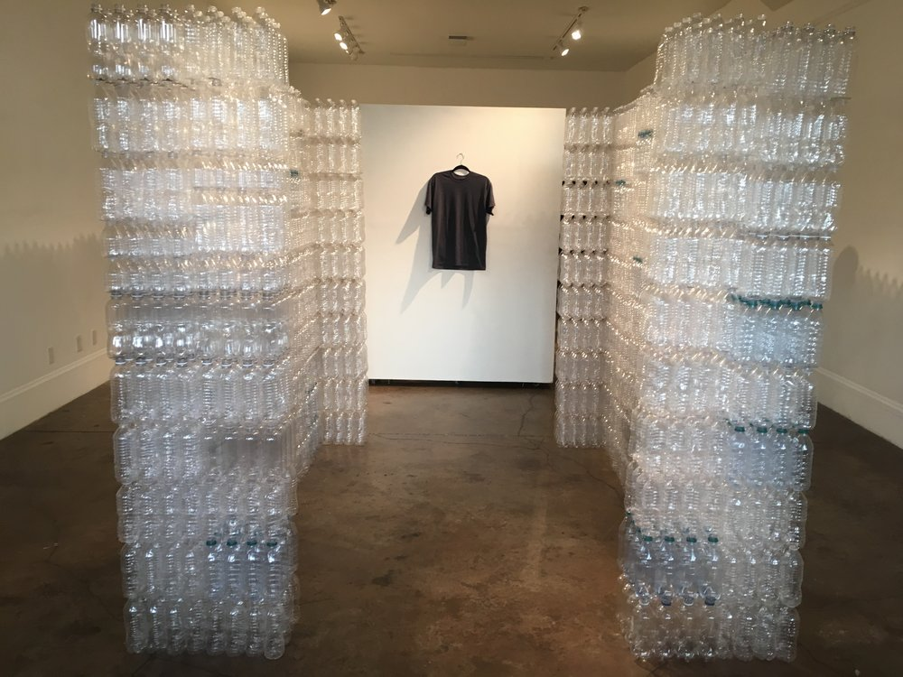 5,250 water bottles equals 700 gallons, which is how much water is needed to grow the cotton for one t-shirt.  This doesn't include water and chemicals used for dyeing/bleaching, and finishing. Production is equal to only 70% of the environmental impact of a cotton t shirt, other things to consider are consumer care, one load of laundry equals 40 gallons of water. How many times have you washed your favorite tshirt?