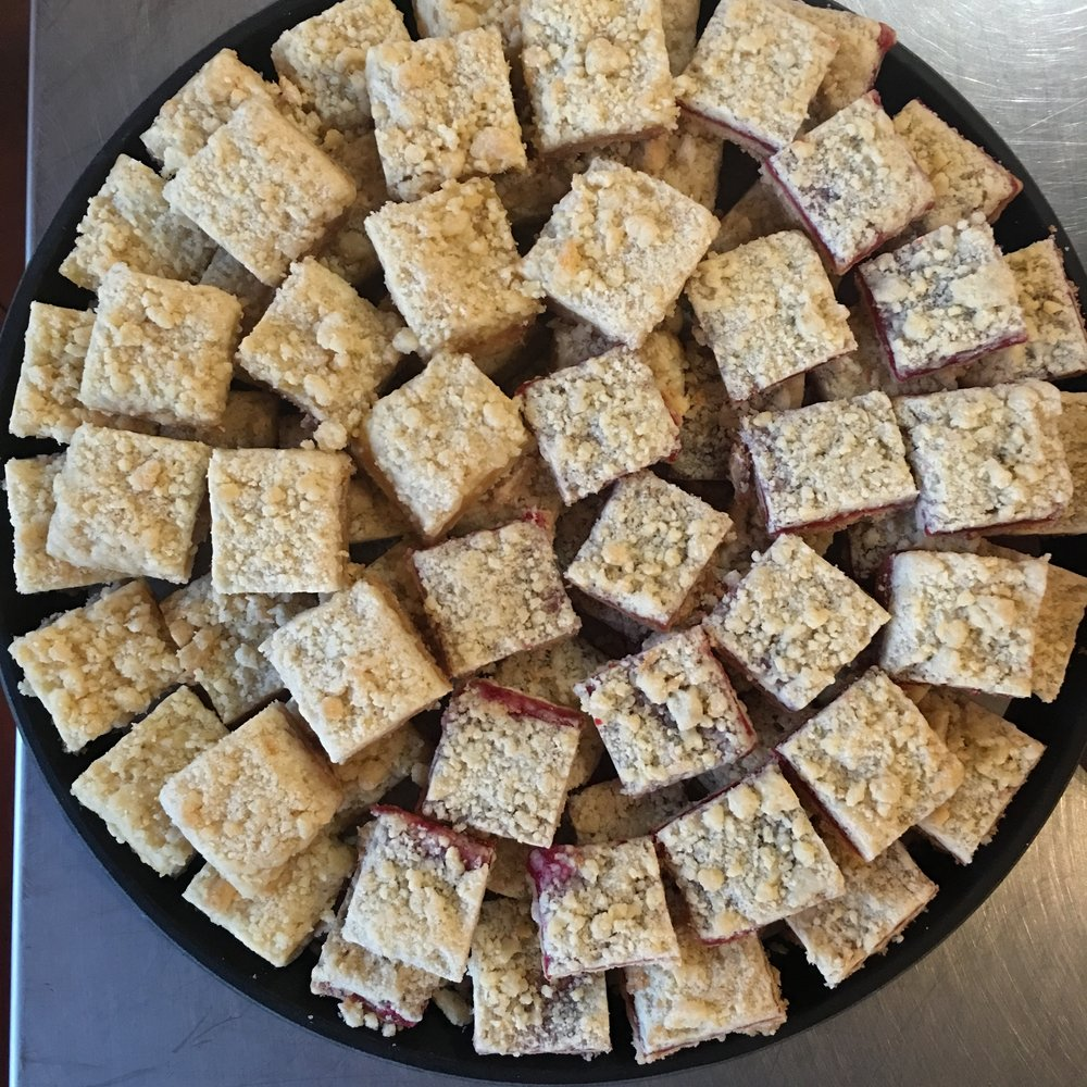 Large Lemon Bar and Raspberry Platter $60 (about 60 pieces)