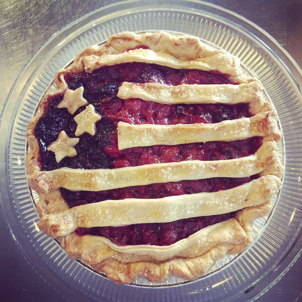 4th of July Cherry and Marionberry Pie