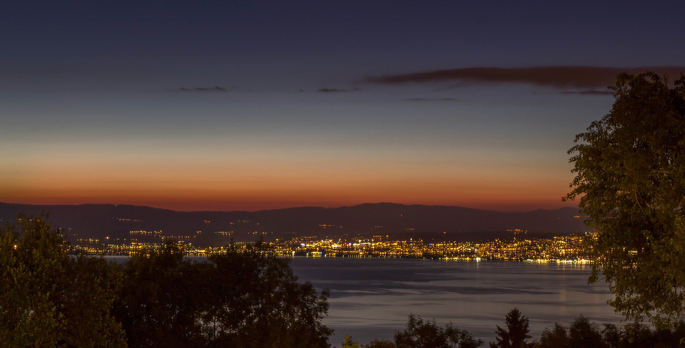 Lacul Leman si luminile din Lausanne