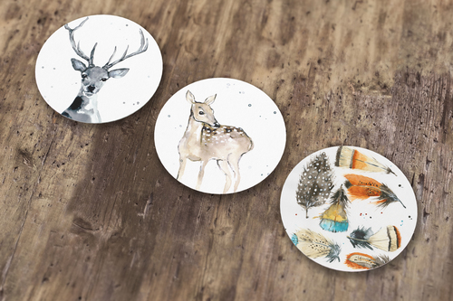 Nature series sticker set 2 round stickers mockup