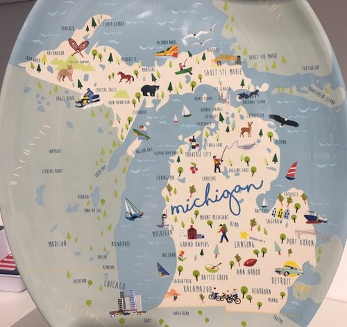State Of Michigan Melamine Platter Two Fish Gallery