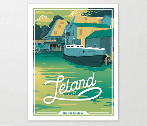 Leland Michigan Art Print 11x14 Two Fish Gallery