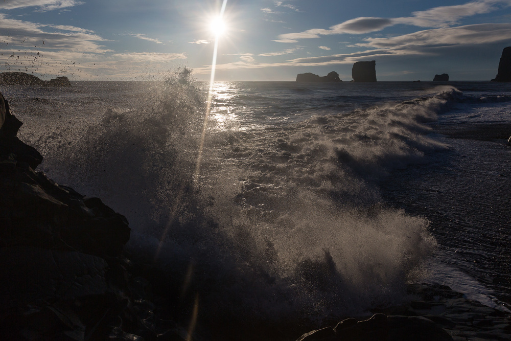 Waves at Kirkjufjara Beach in Iceland