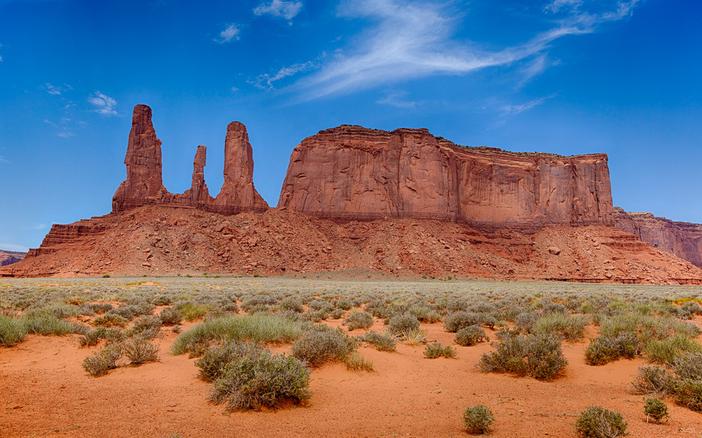 Three Sisters at Monument Valley, Utah