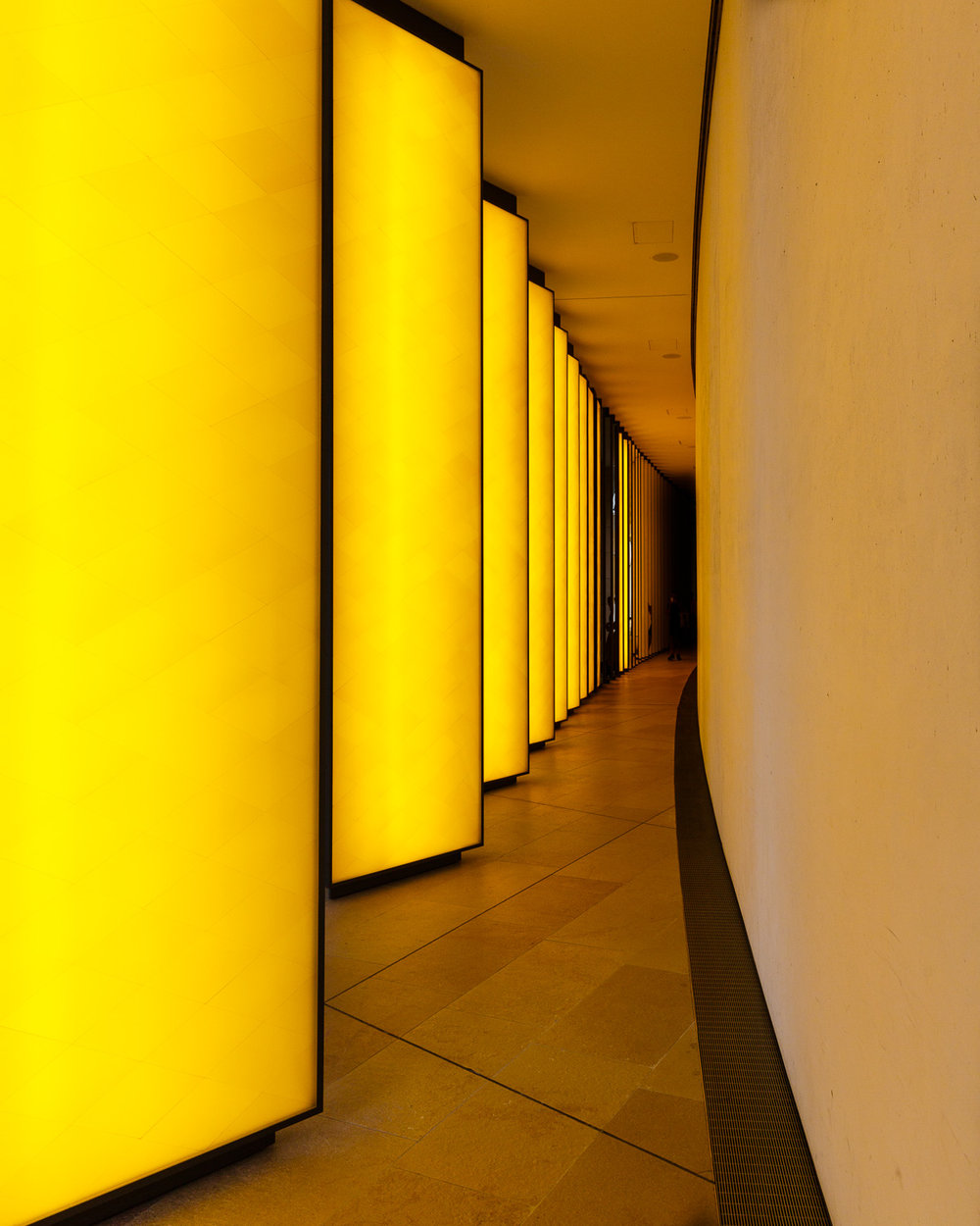 Yellow Glowing Columns at the Fondation Louis Vuitton in Paris
