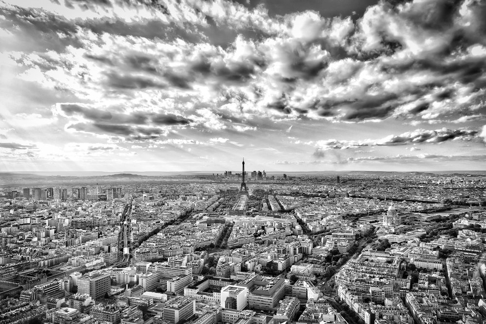 View from the Montparnasse Tower toward the Eiffel Tower in Paris