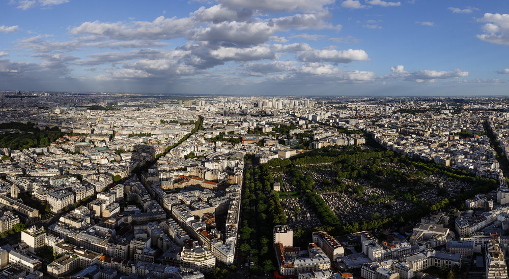 View from the Montparnasse Tower South-East in Paris