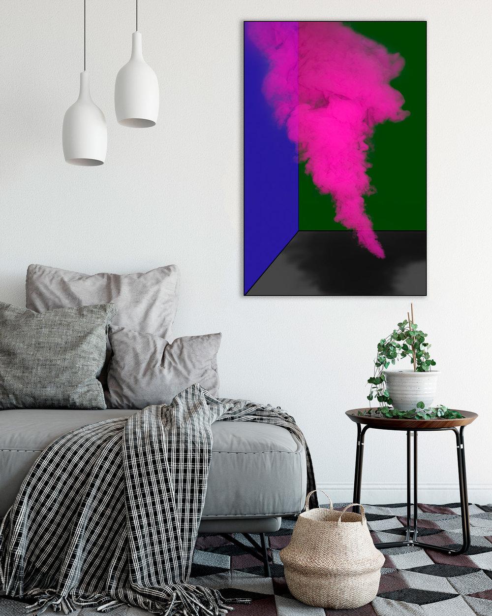 Magenta Smoke in Living Room
