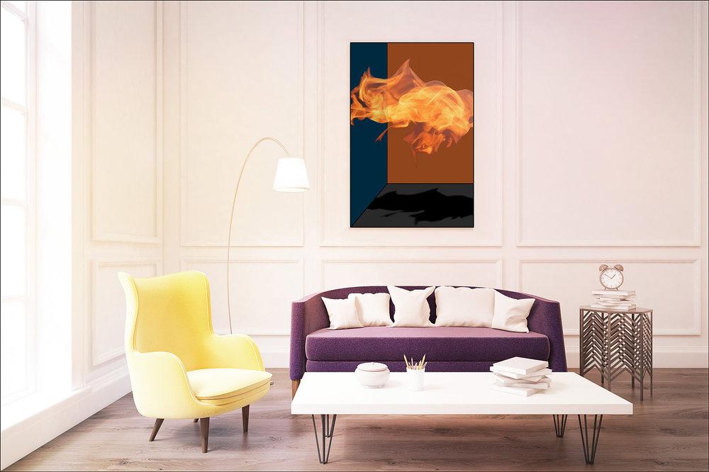 Orange Fire in Living Room