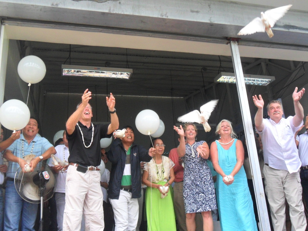 Doves released at closing of Dignity Dedication Service in Bicol, the Philippines