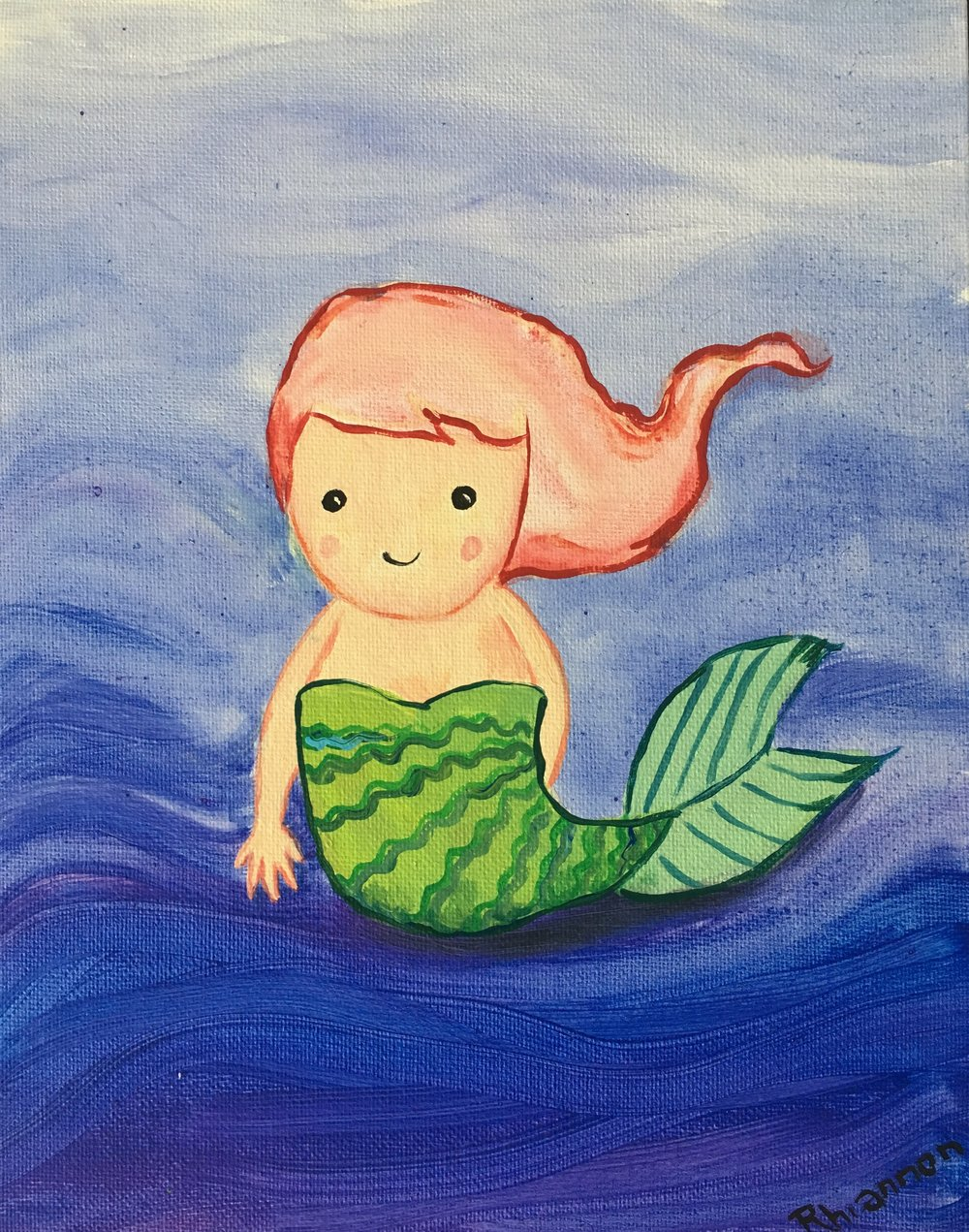 Paint this Cutie! - Rhiannon is an oil painter specializing in beautiful realistic mermaid portraits in lovely, magical ocean worlds. She also creates beautiful custom mermaid portraits as well, using photographs.    Check out her gorgeous work HERE!