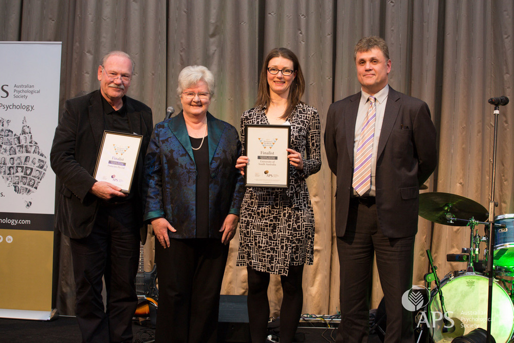 APS Executive Director Lyn Littlefield, second from left, and APS College of Organisational Psychologists Peter Zarris, far right, congratulation Peter Rosenweg of Psyfactors and Natalie Francis  of the University of South Australia, finalists in the Workplace Excellence Awards for Assessment