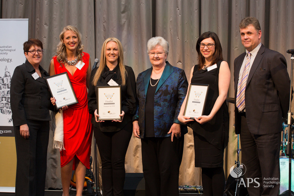 Workplace Excellence Award for Recruitment and Selection finalists Vicki Webster  and Elizabeth Stewart of UnitingCare Health, Anissa Thiele of Transport for NSW and Kathryn O'Brien of ANZ, with  APS Executive Director Lyn Littlefield and APS College of Organisational Psychologists chair Peter Zarris