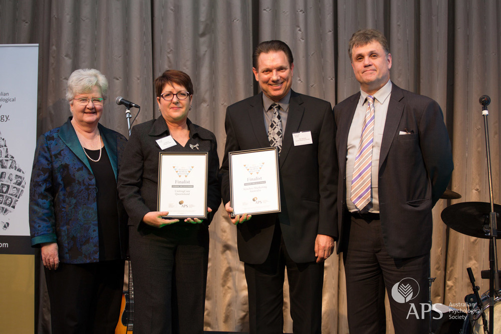 Workplace Excellence Award for Learning and Development 2015 finalists Vicki Webster of UnitingCare Queensland and Trevor Barkway of Synchro Marketing Australia, pictured with APS Executive Director Lyn Littlefield and APS College of Organisational Psychologists Chair Peter Zarris