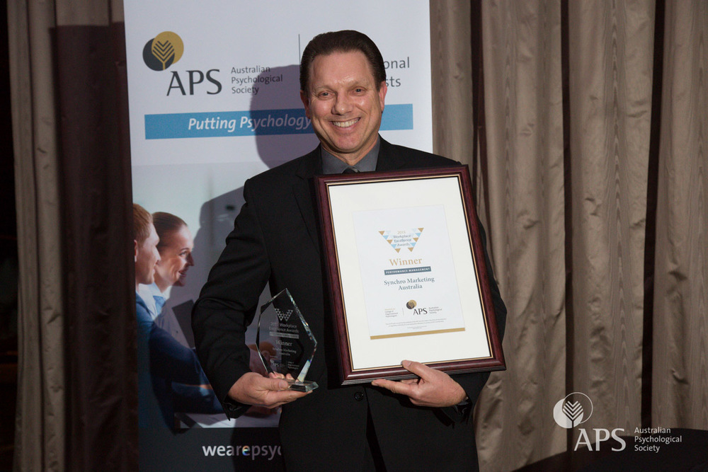 Workplace Excellence Award for Performance Management  2015 winner  Trevor Barkway of Synchro Marketing Australia