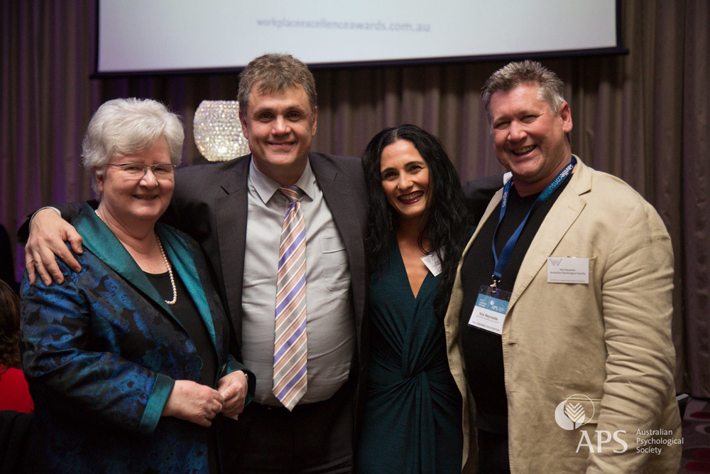 APS Executive Director Lyn Littlefield, APS College of Organisational Psychologists Chair Peter Zarris, Josephine Palermo of Telstra and APS College of Organisational Psychologists Award of Distinction winner Nick Reynolds