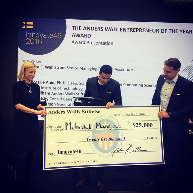 After careful consideration the jury has selected a winner!  Congratulations to this year's Anders Wall Entrepreneur of the Year and recipient of the $25K check! Let's hear it for Mehrdad Mahdjoubi and ORBITAL SYSTEMS! #innovate46