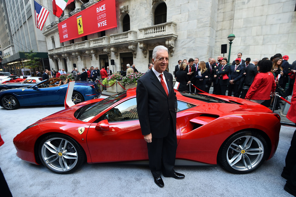 Piero Ferrari standing outside the New York Stock Exchange