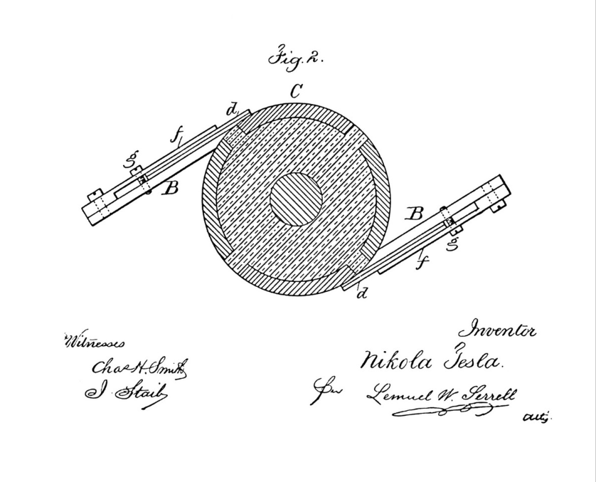 Nikola Tesla's imagination led to numerous patented inventions. Here's a figure from an original patent (1886).