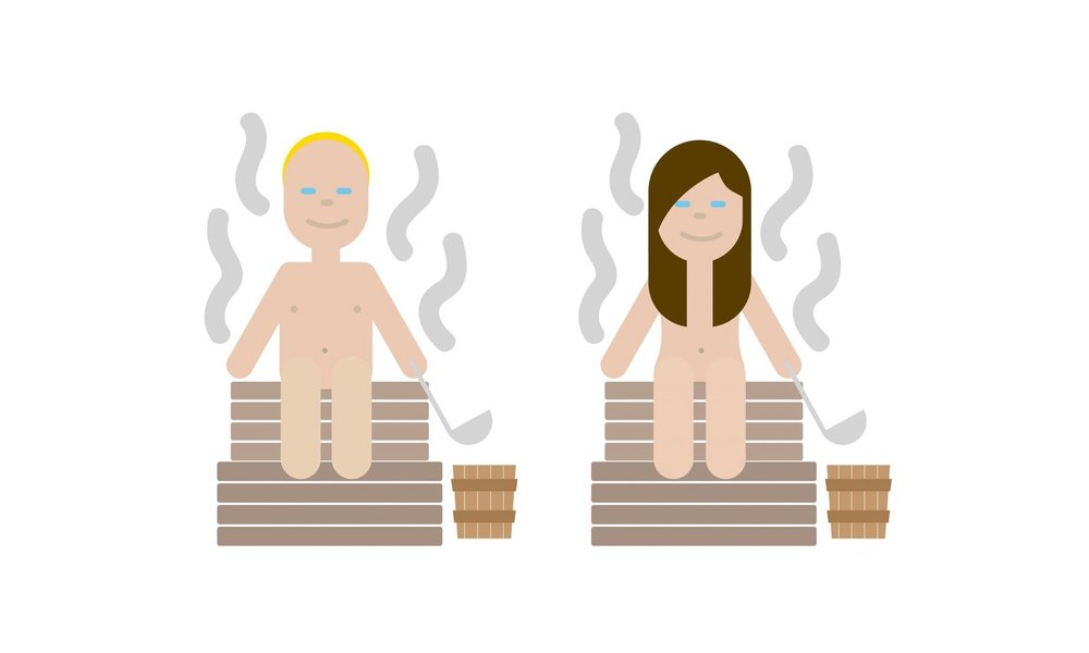 Two variations of Finland's very own sauna emoji.