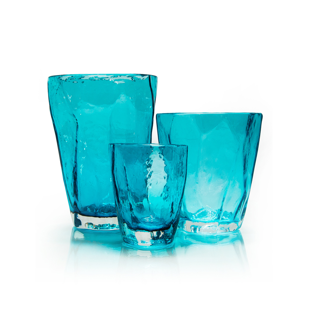 TEAL SOFT ROCKS GLASSES SET More Sizes