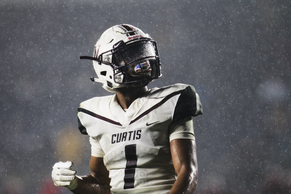 Curtis High School's Wide Receiver Amad Anderson Jr. looks at the scoreboard during the 2017 PSAL Championship game at Yankee Stadium against Erasmus Hall on December 5, 2017.
