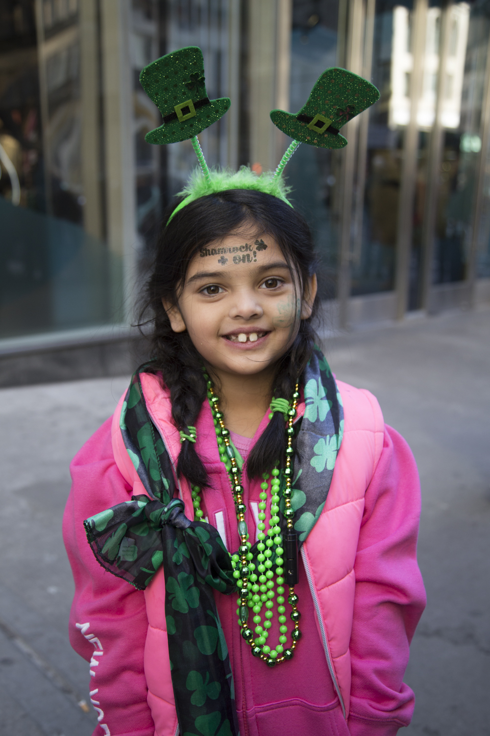 Shay Ramjohn, 6, celebrates her Irish pride during the 2018 St. Patrick's Day Parade in Manhattan. Ramjohn's father stated that she is half Irish and half Guyanese. (Staten Island Advance/Shira Stoll)