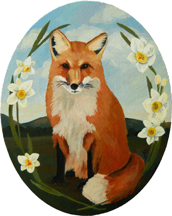 "fox and jonquils , acrylic on canvas 8"" x 10"""