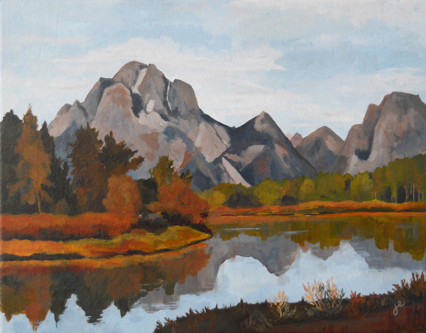 "grand tetons , acrylic on canvas 14"" x 11"""