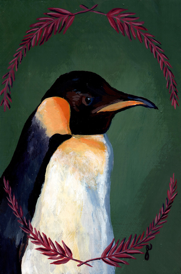 "king penguin , acrylic on wood 5"" x 7"""