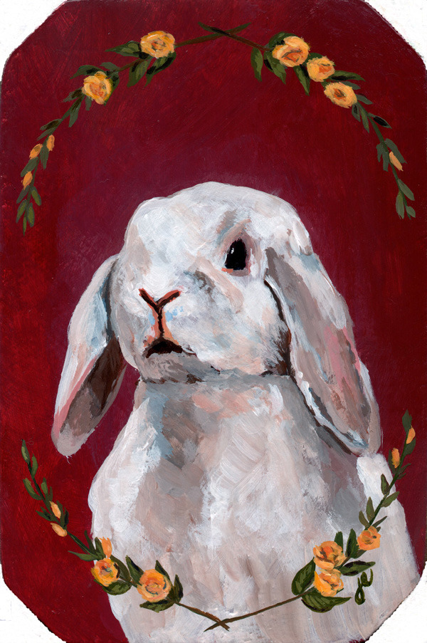 "holland lop , acrylic on wood 5"" x 7"""