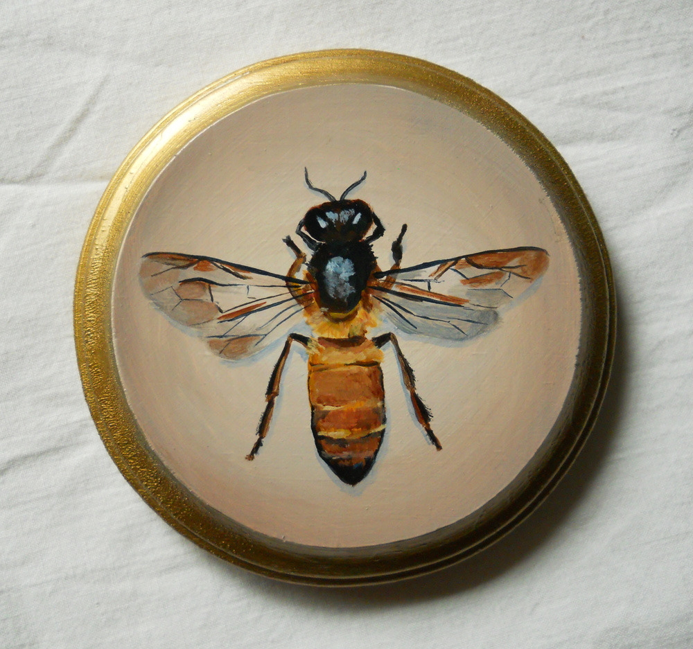 honey bee , acrylic on wood 5""