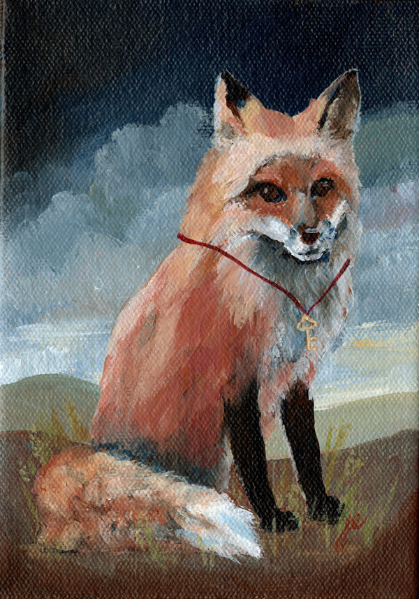 "fox with key , acrylic on canvas 5"" x 7"""