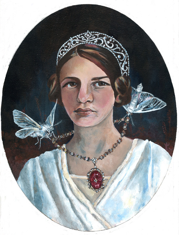"sadie with white satin moths , acrylic on canvas 11"" x 14"""