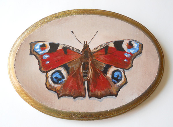"peacock butterfly , acrylic on wood 7"" x 5"""