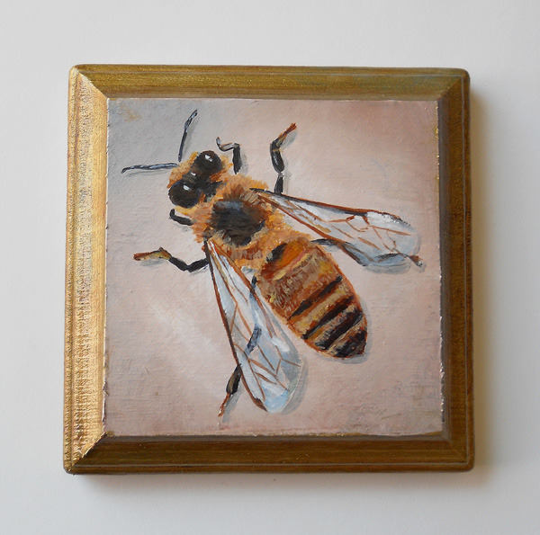 honey bee no. 4 , acrylic on wood 4""