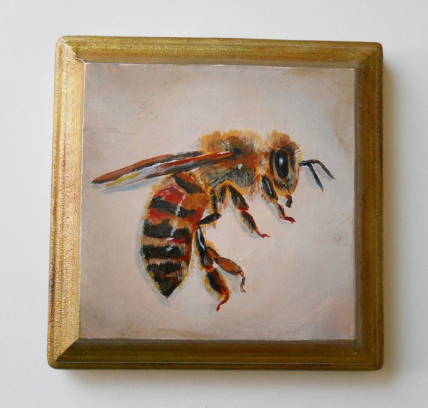 honey bee no. 3 , acrylic on wood 4""