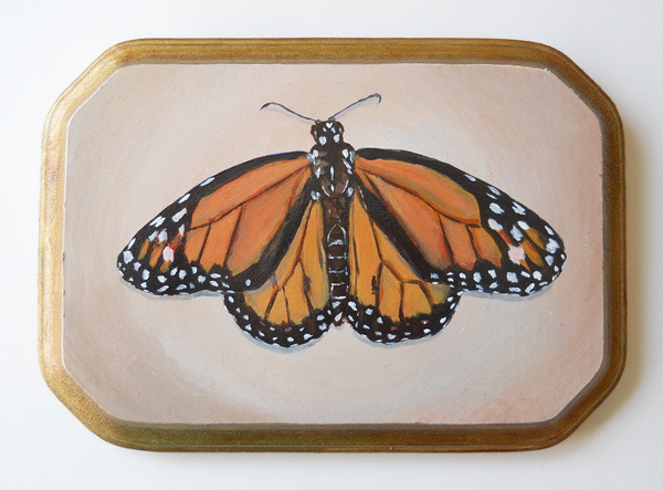 "monarch , acrylic on wood 7"" x 5"""