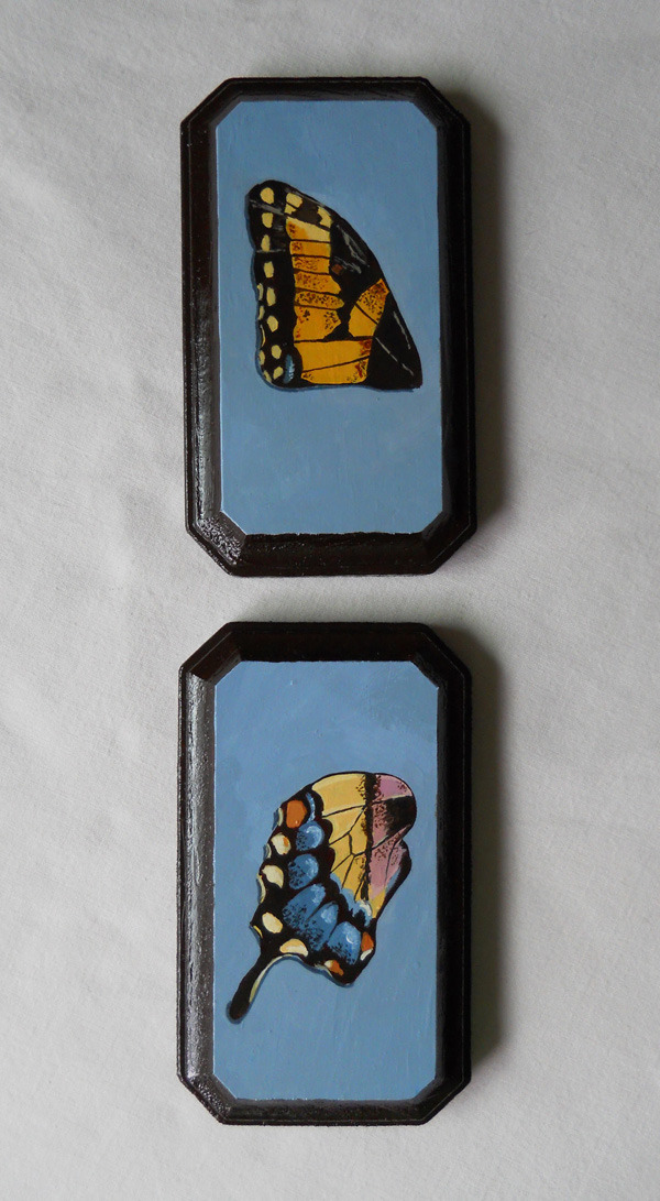 "papilio glaucus wings figure 1 & figure 2 , acrylic on wood 3"" x 5"""