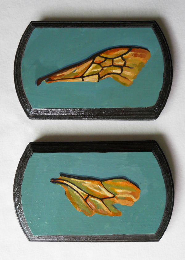 "apis mellifera wings figure 1 & figure 2 , acrylic on wood 5"" x 3"""