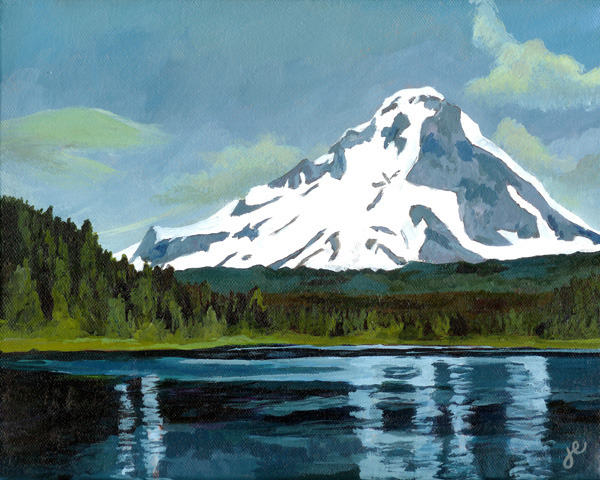 "mount hood , acrylic on canvas 10"" x 8"""
