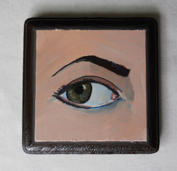 "lover's eye , acrylic on wood 4"" square"