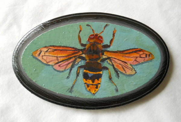 "hornet , acrylic on wood 5"" x 3"""