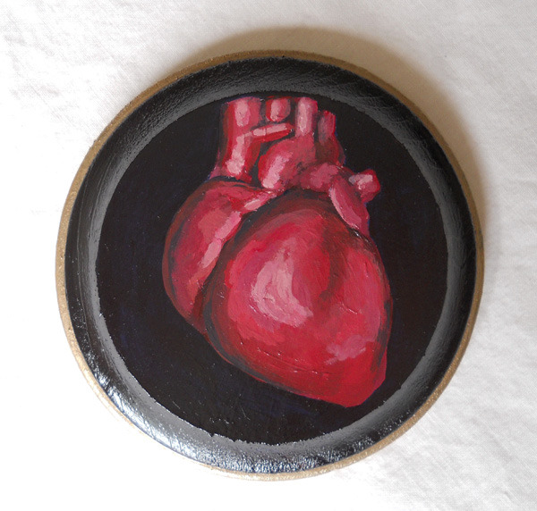 "heart , acrylic on wood 4"" round"