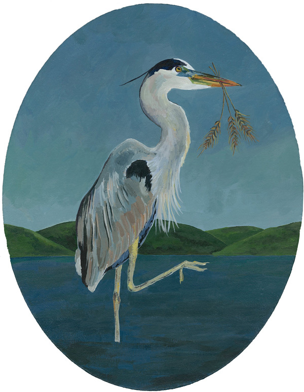 "great blue heron , acrylic on canvas 11"" x 14"""