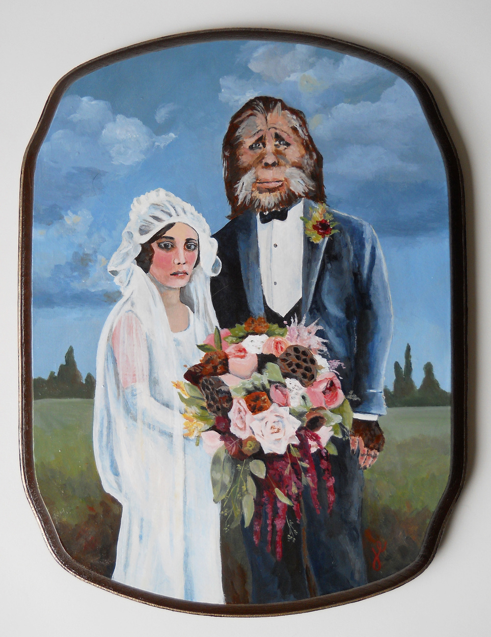 "portrait of a pacific northwest couple on their wedding day   acrylic on wood, 8"" x 10"""